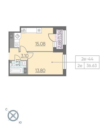 Планировка Однокомнатная квартира площадью 36.63 кв.м в ЖК «RIVIERE NOIRE»