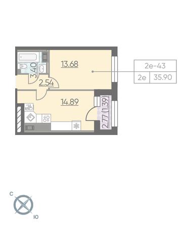 Планировка Однокомнатная квартира площадью 35.9 кв.м в ЖК «RIVIERE NOIRE»