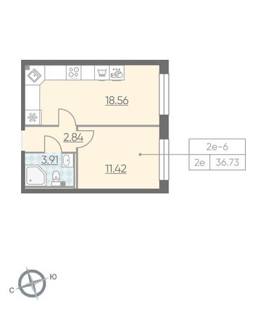 Планировка Однокомнатная квартира площадью 36.73 кв.м в ЖК «RIVIERE NOIRE»