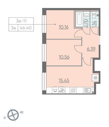 Планировка Двухкомнатная квартира площадью 46.4 кв.м в ЖК «RIVIERE NOIRE»