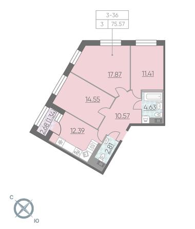 Планировка Трёхкомнатная квартира площадью 75.57 кв.м в ЖК «RIVIERE NOIRE»