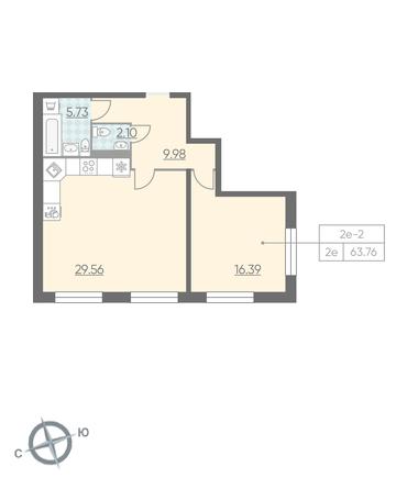 Планировка Однокомнатная квартира площадью 63.76 кв.м в ЖК «RIVIERE NOIRE»