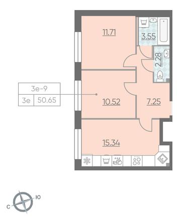 Планировка Двухкомнатная квартира площадью 50.65 кв.м в ЖК «RIVIERE NOIRE»
