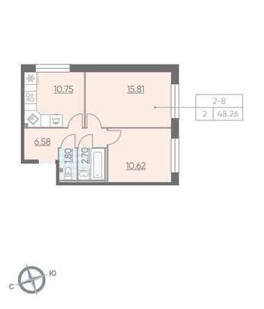Планировка Двухкомнатная квартира площадью 48.26 кв.м в ЖК «RIVIERE NOIRE»