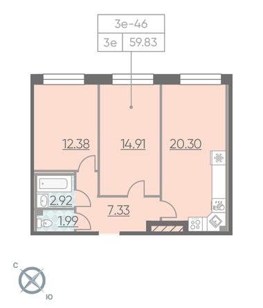 Планировка Двухкомнатная квартира площадью 59.83 кв.м в ЖК «RIVIERE NOIRE»