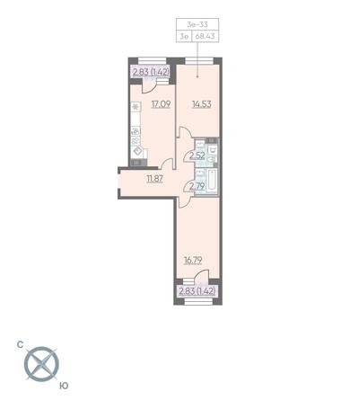 Планировка Двухкомнатная квартира площадью 68.43 кв.м в ЖК «RIVIERE NOIRE»