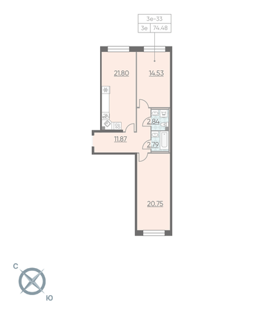 Планировка Двухкомнатная квартира площадью 74.48 кв.м в ЖК «RIVIERE NOIRE»